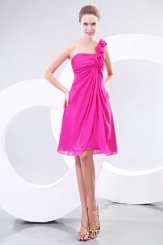 Simple Rose Single Straps Knee Length Fuchsia Homecoming Dress