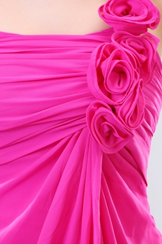 Simple Rose Single Straps Knee Length Fuchsia Homecoming Dress