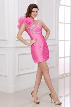 Modern One Shoulder Sheath Hot Pink Homecoming Dress