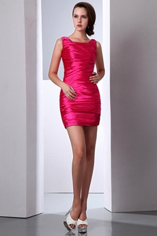 Sexy Mini Length Hot Pink Nightclub Dress