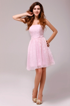 Sassy Short Length Pink Lace Junior Bridesmaid Dress