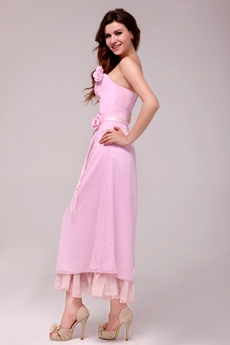 Affordable Column Tea Length Pink Chiffon Junior Bridesmaid Dress