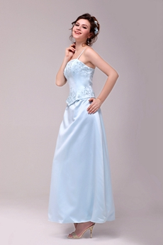 Spaghetti Straps Ankle Length Sky Blue Bridesmaid Dress With Embroidery