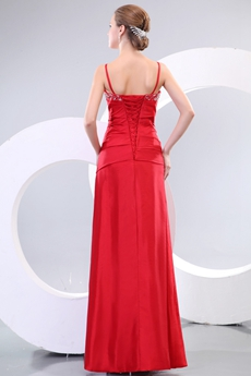 Red Taffeta Junior Prom Dress Corset Back