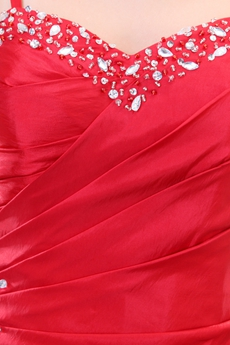 Red Taffeta Junior Prom Dress Corset Back