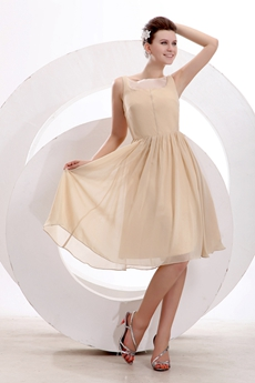 Bateau Neckline Knee Length Champagne Chiffon Wedding Guest Dress