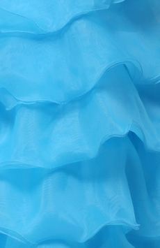 Sassy Strapless Knee Length Turquoise Blue Organza Sweet Sixteenn Dress