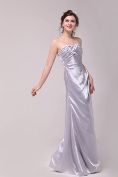 Exquisite A-line Full Length Silver Prom Party Dress