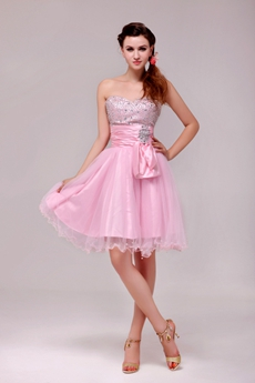 Lovely Knee Length Pink Tulle Sweet Sixteen Dress