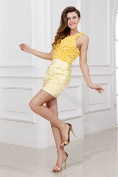 Chic Yellow Daisy Cocktail Dress