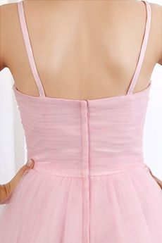 Cute Spaghetti Straps Mini Length Puffy Pink Sweet 16 Dress