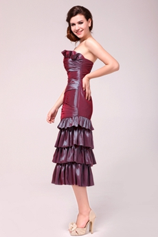 Decent Sheath Tea Length Maroon Mother Of The Groom Dress
