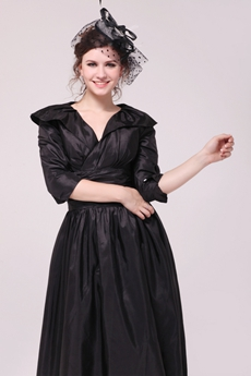 3/4 Sleeves V-Neckline Tea Length Black Mother Of The Groom Dress
