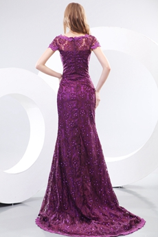 V-Neckline Cap Sleeves Purple Lace Mother Of The Bride Dress