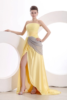 Yellow Strapless A-line Yellow & Silver High School Graduation Dress
