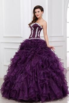 Qualified Purple Ruffled Quinceanera Dress