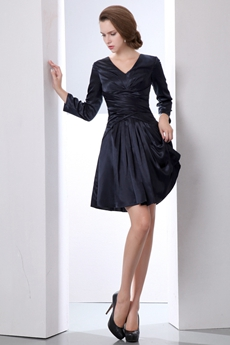 V-Neckline Long Sleeves Navy Blue Wedding Guest Dress