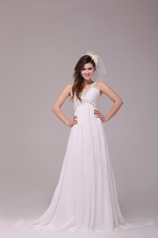 V-Neckline Empire Full Length Ivory Maternity Wedding Dress