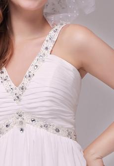 V-Neckline Empire Full Length Ivory Maternity Wedding Dress