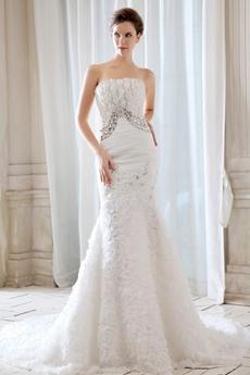 Luxurious Strapless Trumpet/Mermaid Floral Wedding Dress
