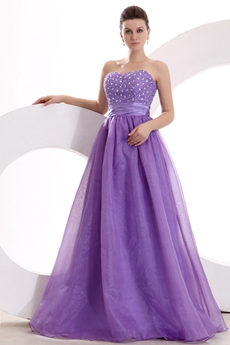 Terrific Full Length Lavender Organza Princess Quince Dress