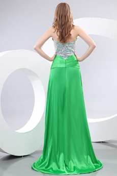 Amazing Junior Green Prom Dress With Silver Sequins