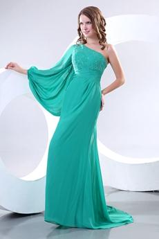 Glamour One Shoulder Long Sleeves Jade Green Mother Dress