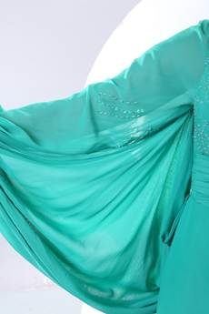 Glamour One Shoulder Long Sleeves Jade Green Mother Dress