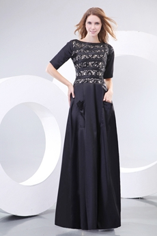 Half Sleeves Boat Neckline Black Mother Dress With Lace Decoration