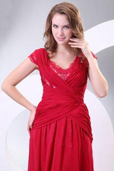Short Sleeves V-Neckline Red Chiffon Formal Evening Dress