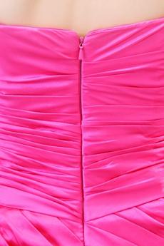 Cut Dipped Neckline Mini Length Fuchsia Wedding Guest Dress