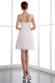 New Style Spaghetti Straps Mini Length Chiffon Little White Dress