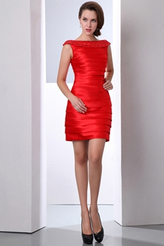 A-line Mini Length Red Bandage Dress