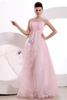 Jewel Neckline Pink Organza Princess Quinceanera Dress