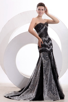 Generous Black & Silver Sequined Sparkled Pageant Dress