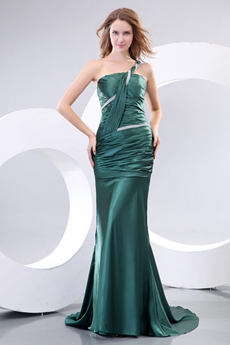 Flattering One Straps Sheath Dark Green Prom Dress