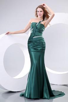 Flattering One Straps Sheath Dark Green Prom Dress