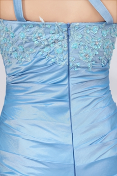 Modest One Straps Sheath Blue Prom Party Dress