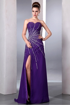 Luxury Sweetheart A-line Purple Sparkled Prom Dress Front Slit