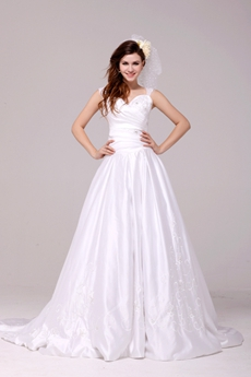Modest Straps A-line Satin Plus Size Embroidery Wedding Dress With Beads
