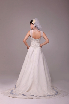 Flattering Straps A-line Embroidery Wedding Dress