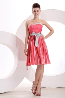 Chic Strapless Knee Length Watermelon Homecoming Dress