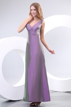 V-Neckline Ankle Length Purple Mother Of The Bride Dress