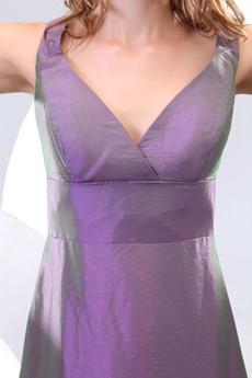 V-Neckline Ankle Length Purple Mother Of The Bride Dress