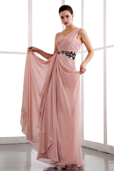 Lovely One Straps Ankle Length Dusty Rose Prom Dress