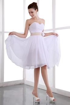 Casual Knee Length White Chiffon Beach Wedding Dress With Champagne Sash
