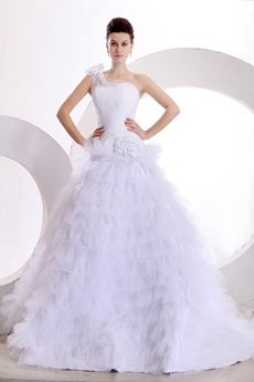 Classy One Straps Ball Gown Multi Ruffled 2016 Bridal Gown