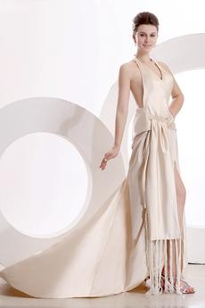 Sexy Halter Champagne Evening Dress High Slit