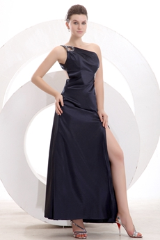 Exquisite One Shoulder Ankle Length Black Cocktail Dress