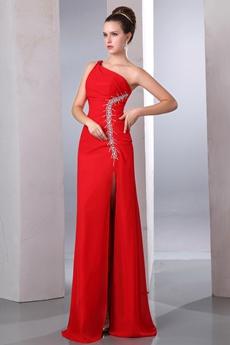 Super One Shoulder Red Cocktail Dress